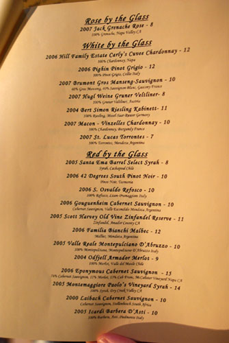 Old Vine Café Beer and Wine List