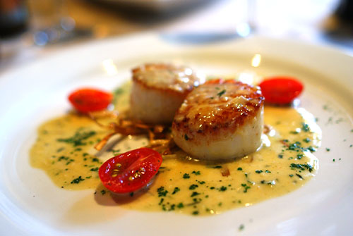 Sautéed Sea Scallop on a nest of Crispy Leeks finished with Tarragon Chardonnay Sauce