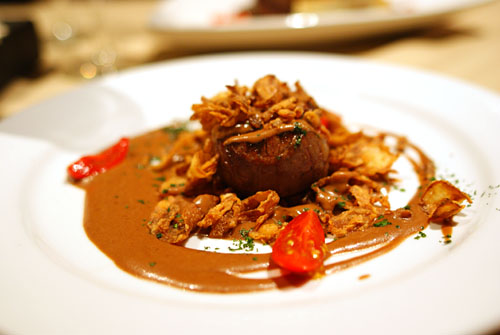 Four Ounces of All Natural Filet Mignon and Crispy Fried Onions with Bleu Des Basque Demi Cream Sauce