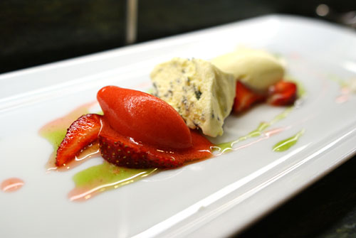 Basil Semifreddo with Strawberries & Olive Oil Ice Cream