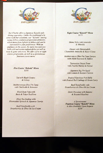 Bar Charlie Menu