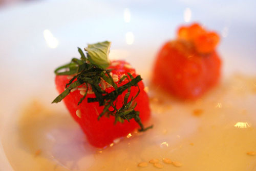 King Red Salmon, Smoked Vinegar, Watermelon, Mint
