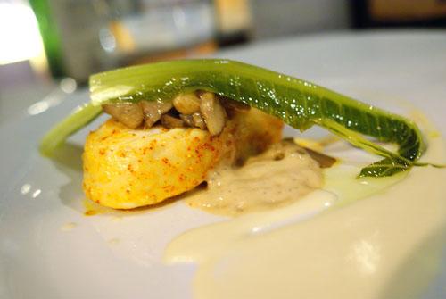 Halibut, Spiced Butter, Fresh Porcini, Tonnato Style, Lettuce