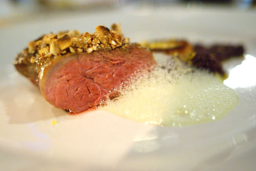 Duck, Almonds, Crispy Skin Puree, Tapenade, Turnips