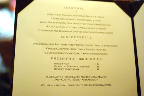 ParkAve Dessert Menu