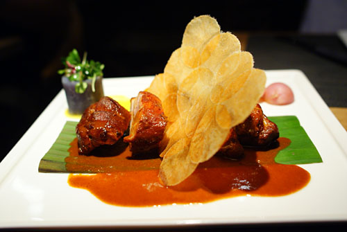 Maya puerco pibil sous vide, banana leaf braised pork shoulder, Peruvian potatoes