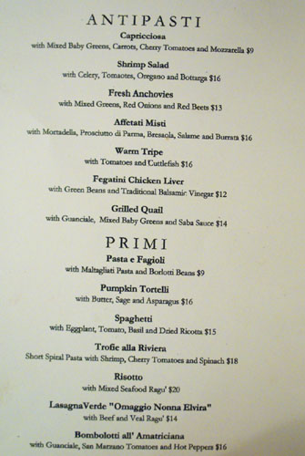 Angelini Osteria Menu