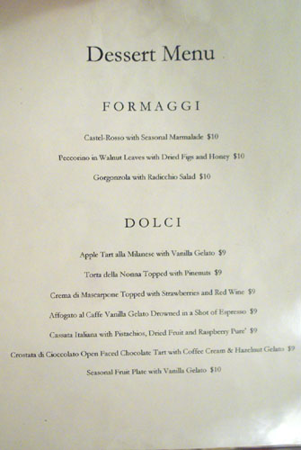 Angelini Osteria Dessert Menu