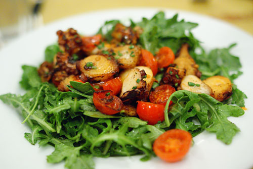 Polipo Warm Octopus with Arugula and Cherry Tomatoes