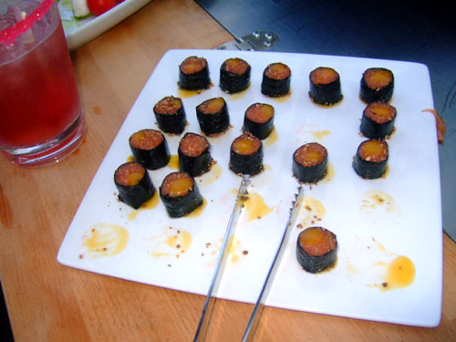 Smoked Salmon Maki with Mango Sauce