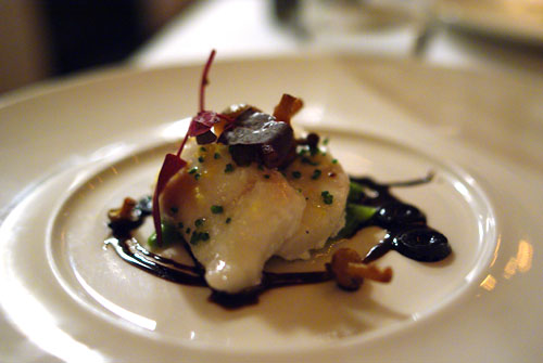 Olive oil poached Alaskan halibut