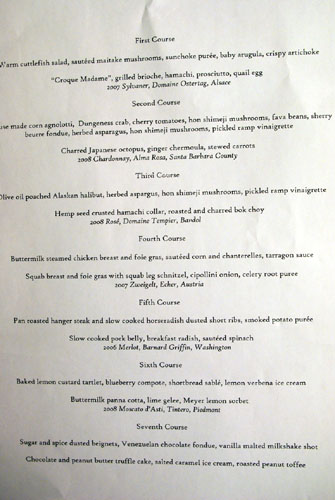 Hatfield's Tasting Menu