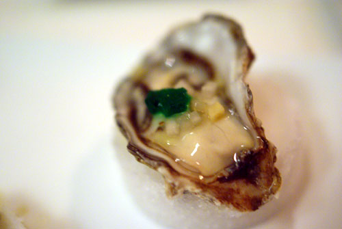 Kumamoto Oyster with Absinthe Jello and Fennel Vinaigrette