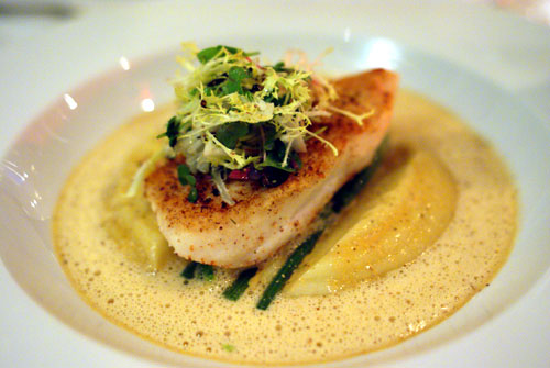 Nutmeg Crusted California Halibut, Braised Baby Fennel, Sunchokes and Lobster Broth