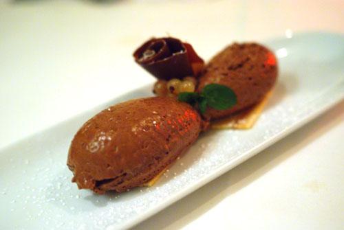 Mousse au Chocolat with Baumkuchen