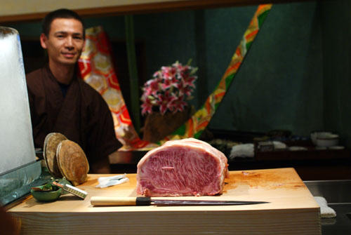 Ken-san Showing Off the Kagoshima Beef