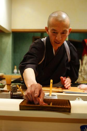 Hiro-san Serving Toro Nigiri