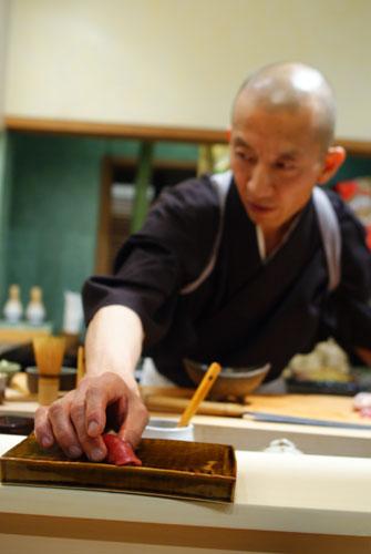 Hiro-San Serving Maguro Nigiri