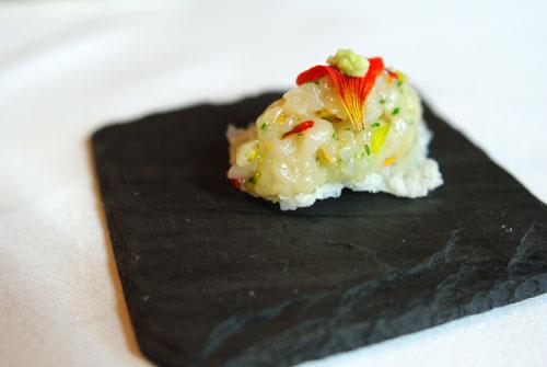 Hokkaido scallop, nasturtium blossoms, crispy rice cracker