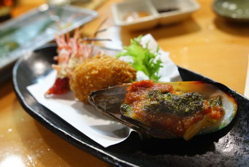 Mussel, Croquette, Shrimp Head