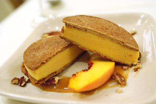 Peach Ice Cream Sandwich with Graham Cracker Cookies, Bourbon and Pecans
