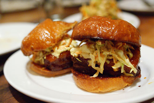 barbeque pork belly sandwiches, slaw