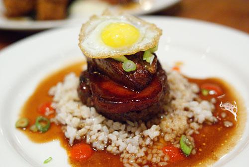 foie gras loco moco, quail egg, spam, hamburger