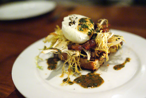 Chicken liver crostone, poached farm egg, frisée, warm bacon vinaigrette