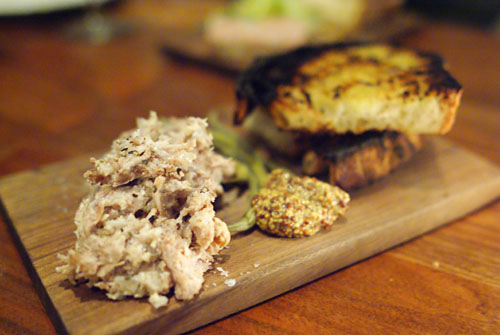 rillettes, pork, pickles, mustard, toast