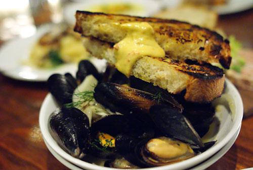 Mussels, fresh flageolet beans, fennel pollen, calabrian salsa