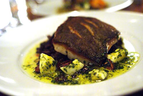 Black cod, beluga lentils, market beets, salsa rustica