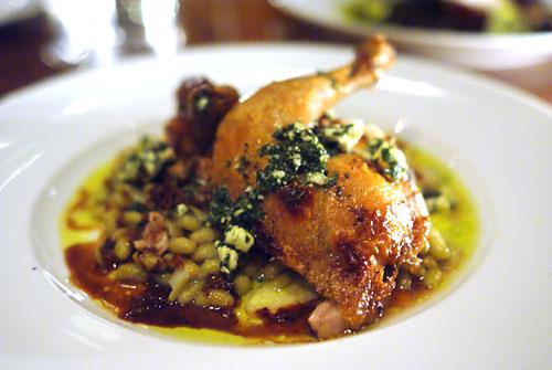 Roast hen, flageolet beans, feta salsa verde