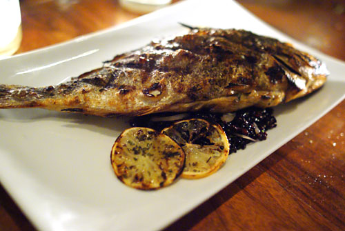 Grilled orata, forbidden rice, olive relish