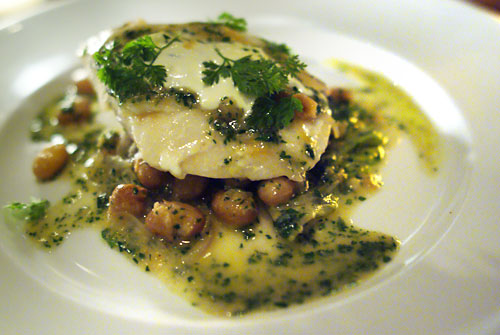 Halibut, fresh cranberry beans, vermouth butter, stewed lettuce