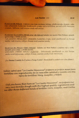 La Casita Mexicana Menu