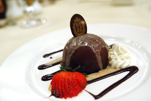 Kahlua Chocolate Bombe, Orange Zest Expresso Sauce