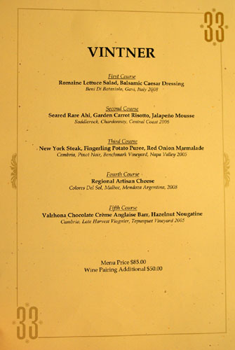 Club 33 Vintner Menu