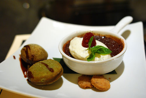 Spicy Chocolate Creme Brulee & Green Tea Beignets