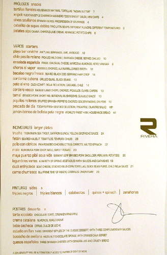 Rivera Menu