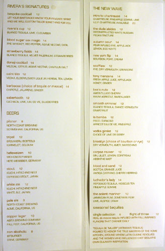 Rivera Drink Menu