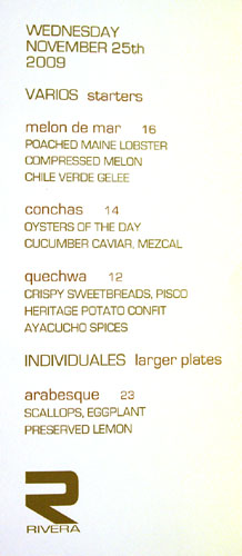 Rivera Specials Menu