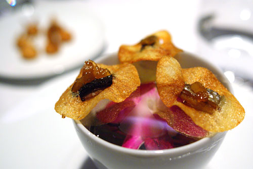 Yukon Gold Potato Chip, Smoked Sardine, Golden Raisin