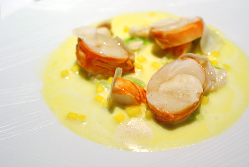 SANTA BARBARA SPINY LOBSTER: Liebig and Champagne, Mushroom, Mango, Spring Onion, Cauliflower Velout, Nutmeg-Turmeric