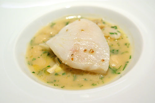 JOHN DORY FILLET: Poached in Malabar Black Pepper-Citrus Butter, Cannelloni Beans, Marin Velout