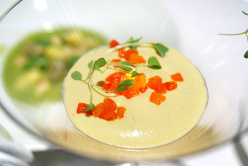 MUSHROOM BROTH 'ZEZETTE': Bloody Mary Sorbet, Ratatouille Bavaroise