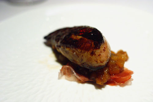 SONOMA VALLEY FOIE GRAS DGUSTATION: Seared, Sweet and Sour Duck Glaze, Fruit Marmalade