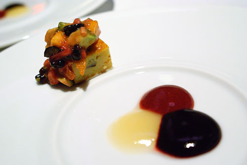 GRAND DESSERT PIERRE GAGNAIRE: Fruit Biscuit, Seasonal Coulis