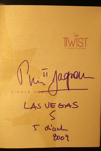 Twist by Pierre Gagnaire Menu