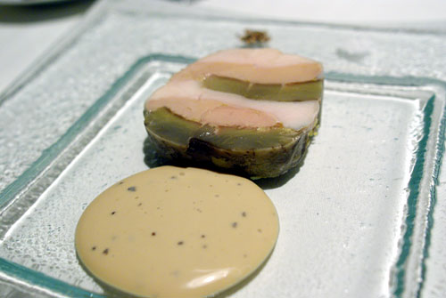 Mosaic of Milk Fed Poularde, Foie Gras and Artichoke, Black Truffle Jus