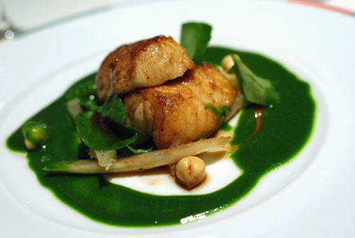 Roasted Monkfish, Salsify Confit, Hazelnuts and Watercress Jus